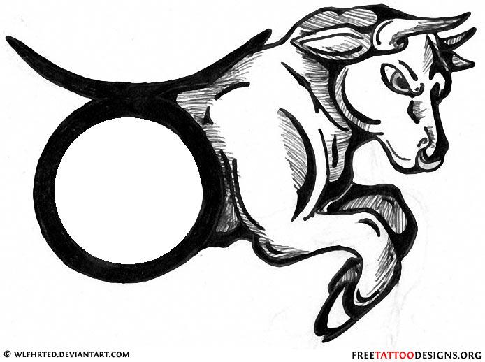 Bull and taurus sign tattoo designTaurus Bull Drawing