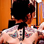 Butterfly tattoos on a girl's back