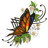 Butterfly and tribal tattoo design
