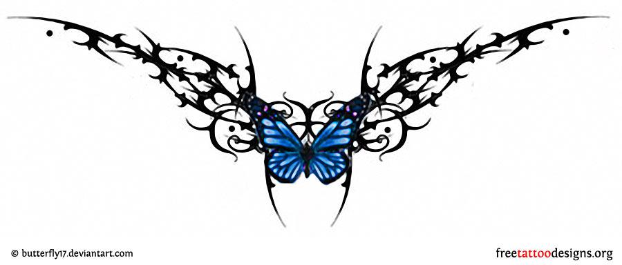 45359e1e5aa73 Lower back tattoo design · Lower back butterfly tribal tattoo ...