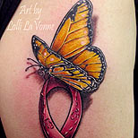 Butterfly and cancer ribbon tattoo