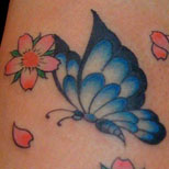 Tattoo of a butterfly and cherry blossoms