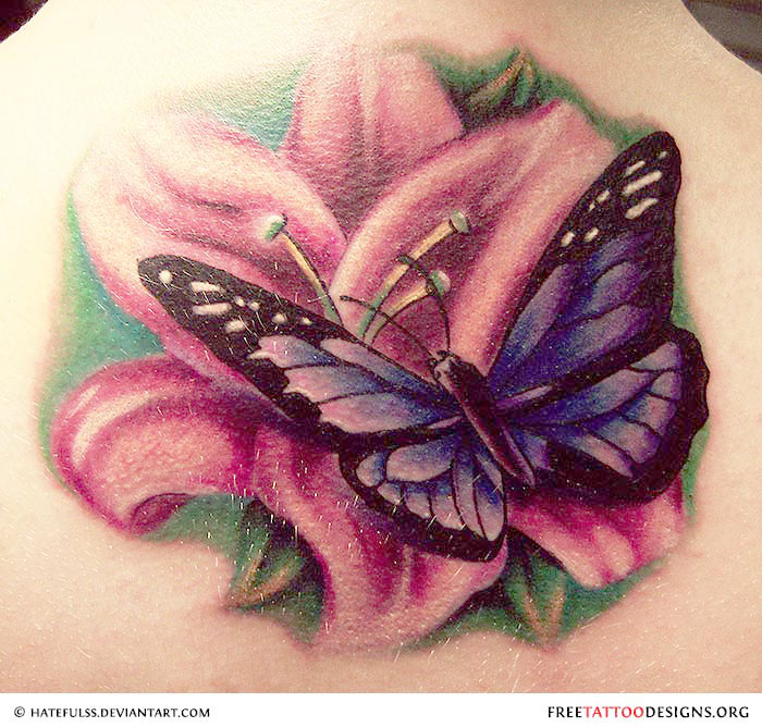 Butterfly tattoo gallery for Flower and butterfly tattoo