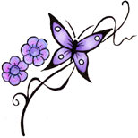 Butterfly and flowers tattoo design