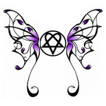 Butterfly and heartagram tattoo design