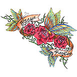 Butterflies and roses tattoo design
