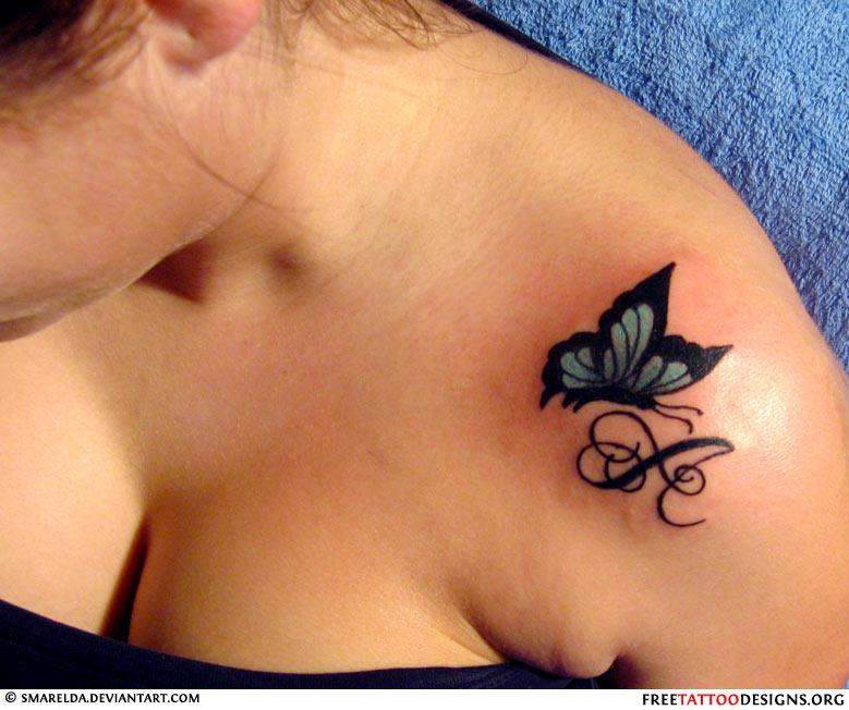 butterfly tattoo on a girl 39 s shoulder. Black Bedroom Furniture Sets. Home Design Ideas