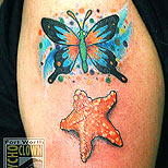 Butterfly and starfish tattoo