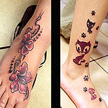 Cat and flower tattoo around ankle