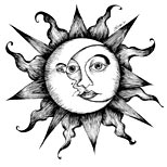 Celestial sun and moon tattoo design