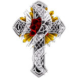 Celtic cross tattoo design with rose