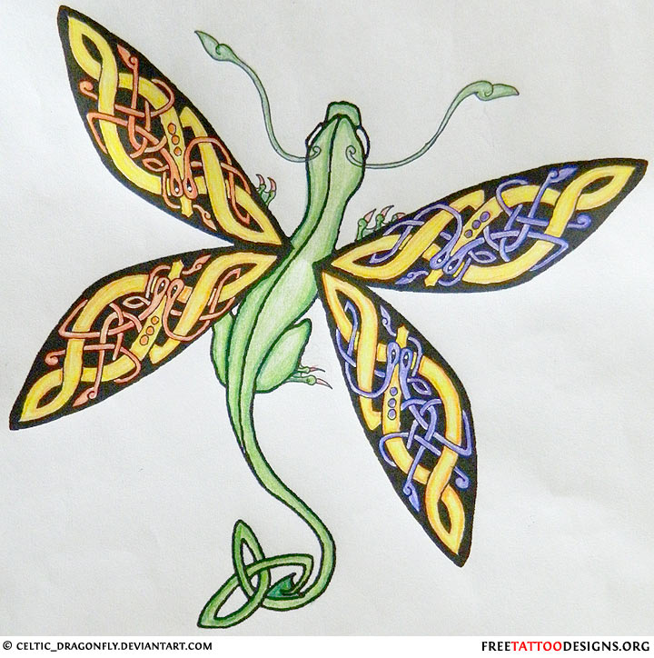 Celtic Dragonfly Drawings Celtic Dragonfly Tatoo Design