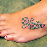Cherry blossom design on foot