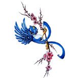 Cherry blossom and swallow tattoo design