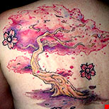 Pink cherry blossom tree tattoo