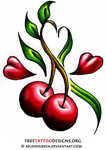 55 cherry tattoo designs their hidden meaning cherry and hearts tattoo design urmus Gallery