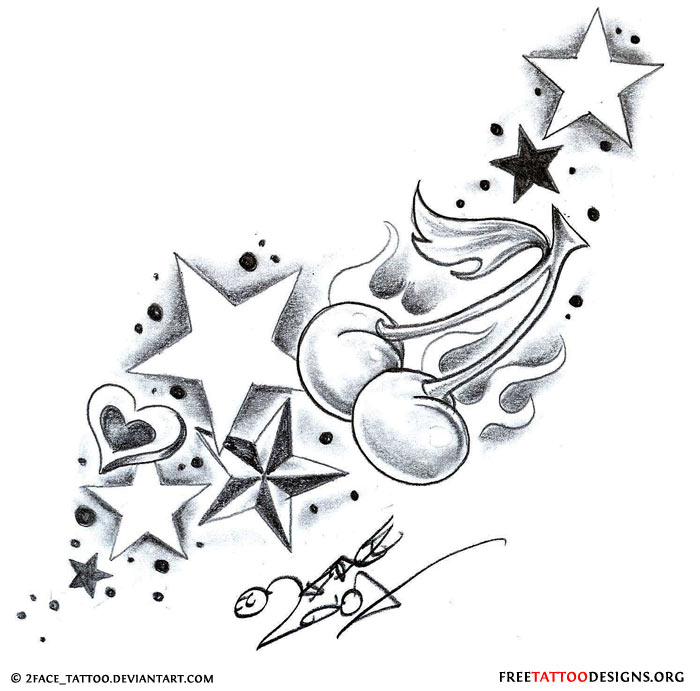 Girly Star Tattoo Designs