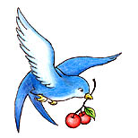 Swallow and cherry tattoo design