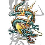 Chinese Dragon Tattoo Design with kanji in the background