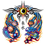 Chinese dragon tattoo with tribal, flames and planets