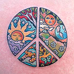 Colorful peace sign tattoo