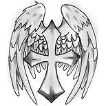 Cross and angel wings tattoo design
