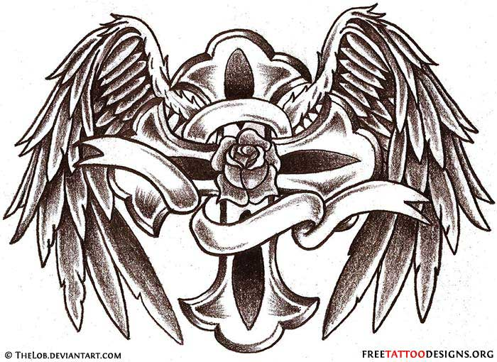 Cross tattoo with angels wings and rose