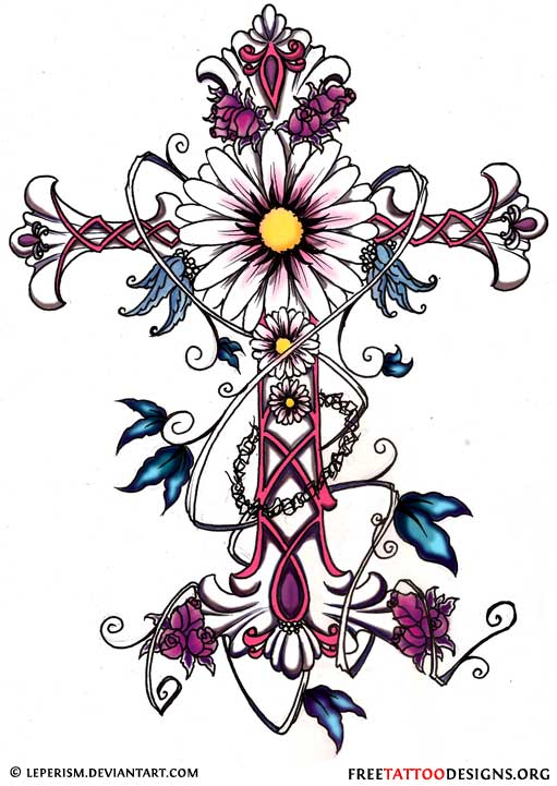 Cross Tattoo with Flowers