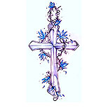 Cross and blue flowers tattoo design