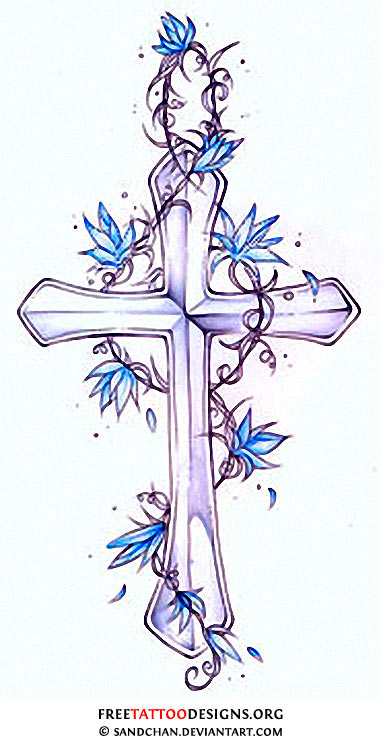 Cross Drawings With Flowers Cross and blue flowers