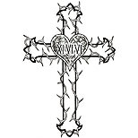 Cross tattoo design with heart and thorns