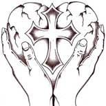 Cross and heart tattoo design