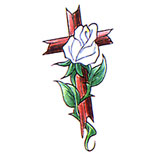 Cross tattoo design with a white rose