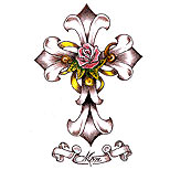 Cross tattoo design with rose