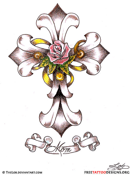 design with rose  Cross Drawings Of Crosses And Roses