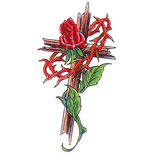 Cross tattoo design with rose and thorns