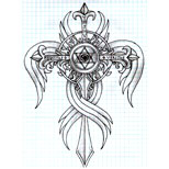 Cross tattoo drawing