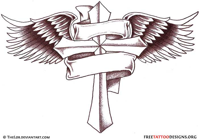 Cross tattoo with angel wings and banner