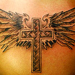Cross tattoo with angel wings