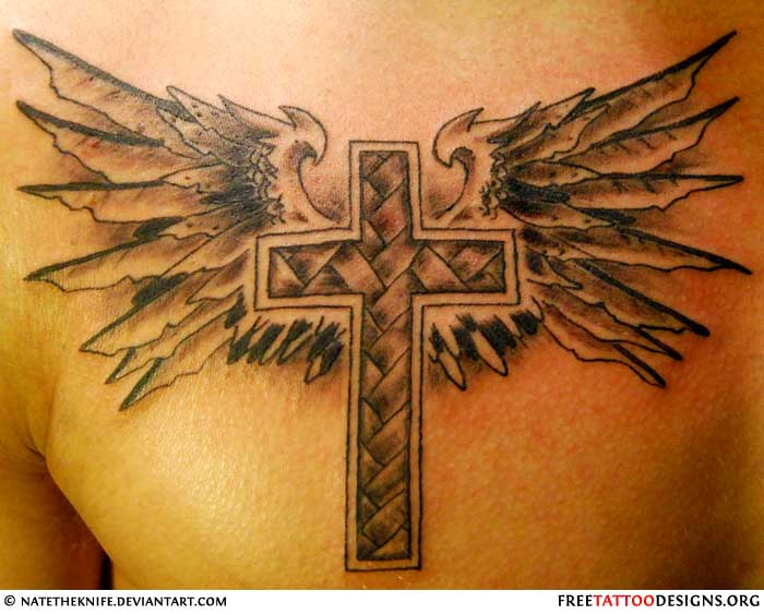 50 cross tattoos tattoo designs of holy christian for Tattoo cross with wings