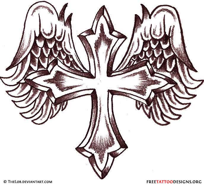 Cross with Wings Drawings