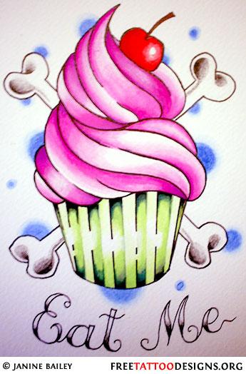 Cute Cupcake Tattoo Designs