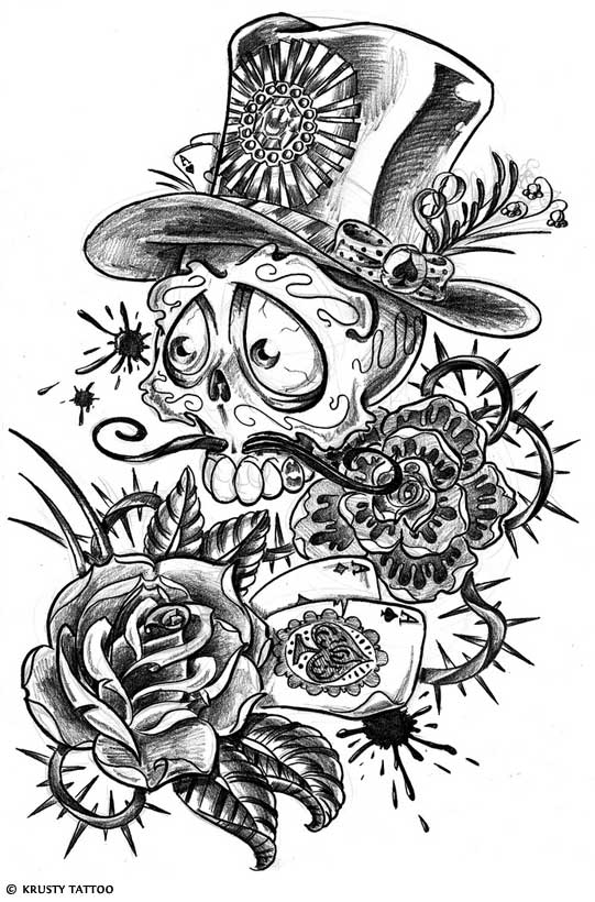 day of dead skull tattoo flash