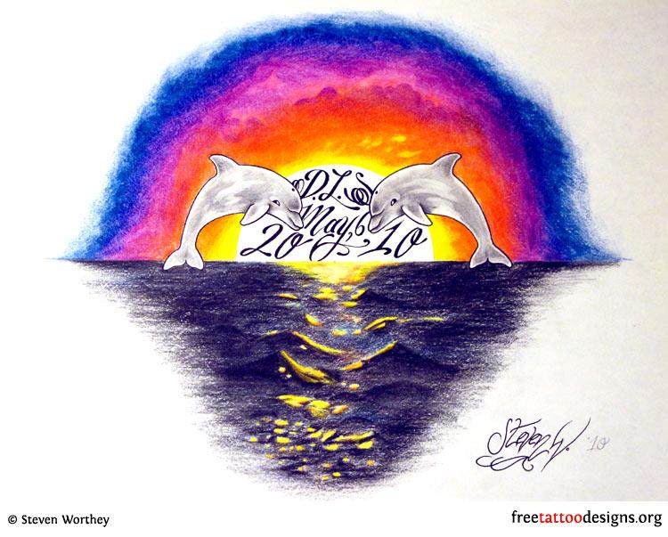 Dolphin sunset tattoo