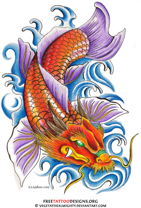 40 koi fish tattoos japanese and chinese designs for Japanese coy fish tattoo