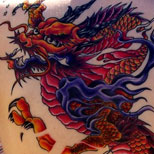 Dragon tattoo on a girl's back