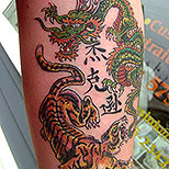 Tattoo of a tiger and a dragon fighting + kanji