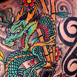Dragon tribals tattoo with water, koi fish, bamboo and cherry blossom