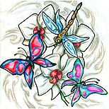 Dragonfly and butterfly tattoo design