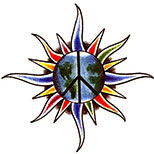 Tattoo design of a peace symbol, combined with the earth and a star